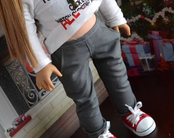 18 inch Doll Clothes - Gray Chinos - Trouser Pants - Grey - for BOY or GIRL - fit American Girl