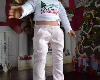 18 inch Doll Clothes - Gold Dot Chinos - Trouser Pants - Pink Metallic Gold - for BOY or GIRL - fit American Girl