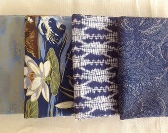 Blue white and gold fat quarters