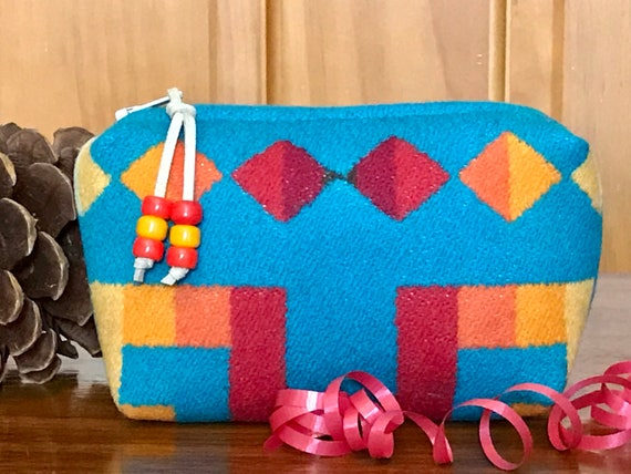 Cosmetic Bag / Makeup Bag / Zippered Pouch Small Turquoise Rio Rancho
