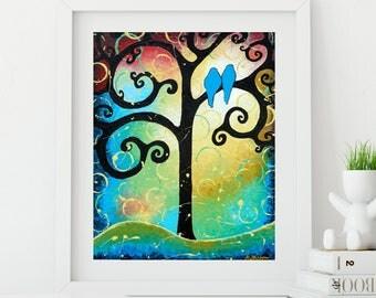 Tree of Life Landscape Wall Art, Love Birds Whimsical Art Print, Romantic Gift for Couple