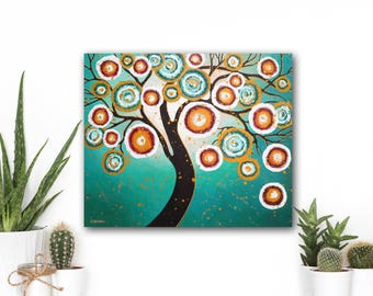 Tree of Life Wall Art Bedroom Decor, Abstract Tree Art Turquoise Painting, Tree Wall Decor, Nature Lover Gift