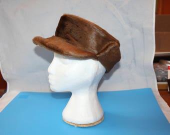 Vintage Fur Cap, Beaver (?), 1930's or 1940's