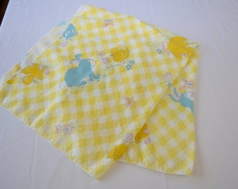 Vintage BABY BLANKET Bunny and Ducky animal theme soft