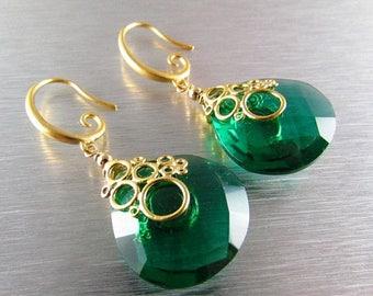 25 OFF Emerald Green Quartz Bubble Earrings