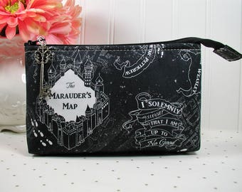 Black Marauders Map Zipper Pouch/ Wizards Map Pouch /Harry Potter Pouch