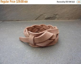 On Sale Braided Safari Taupe Leather Cuff, Men's Leather Bracelet. Woman's bracelet, Bracelet FREE SHIPPING