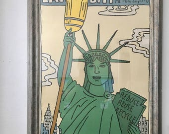 Seymour Chwast Earth day framed New York 1990 Art Poster Wall Art original poster living room or store display
