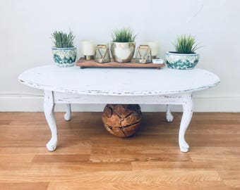 Vintage Provincial Style Coastal Living Rustic Shabby Chic Hand Painted And  Distressed Wood Coffee Table