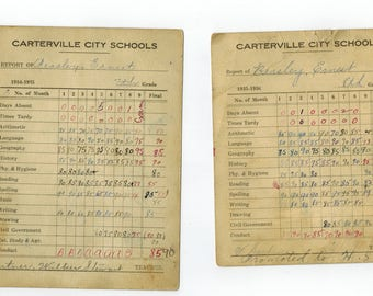 2 --- 1930s  Carterville city schools report cards Carterville, Illinois