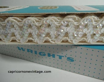 Vintage Wright's Trim in Box Unused? White Sequin Braided Trim Made in USA Fancy Trim Vintage 1960s Sewing Craft Trim Vintage Packaging