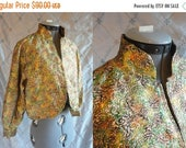 ON SALE 60s Jacket // Vintage 1960s Gold Lame' Multicolor Bolero Evening Jacket with Blue Lining Size M L
