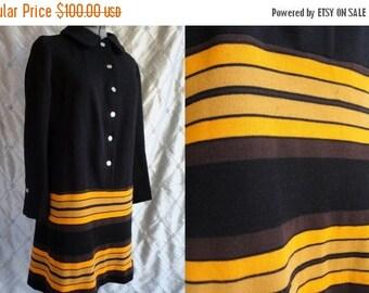 ON SALE 60s Dress // Vintage 1960s Black Wool Dress with Orange and Brown Stripes Size L