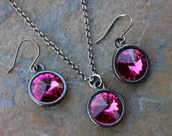 Fuchsia & Black Necklace and Earrings Set -Hot pink Swarovski crystal rivoli stone on gunmetal black chain and earwires-Free shipping in USA