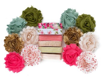 Aurora : Coral + Sage DIY Headband Kit | 6 or 12 Headbands | Chiffon Flower FOE Fold Over Elastic | Princess Parties & Baby Showers
