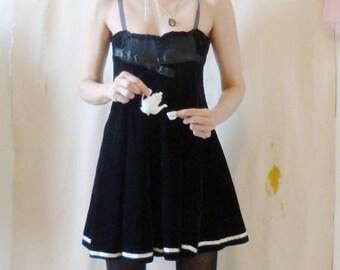 Little Black Deconstructed Dress Gothic Dark Faerie