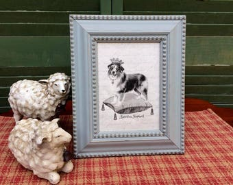 Australian Shepherd in French Crown, French Country Decor, Farmhouse Decor, Linen Print, Distressed Shabby Chic Frame, Printed on Linen
