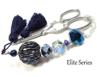 Handmade Beaded Scissor Fob Midnight Blue Elite Series Quilting Sewing Cross Stitch Scissor Minder Scissor Keeper