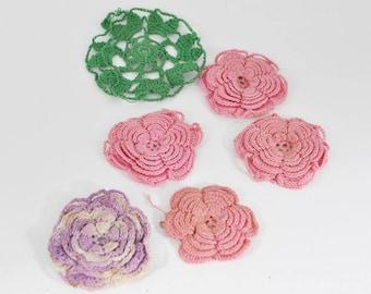 6 Vintage Crochet Flowers - Pink - Lavender - Green