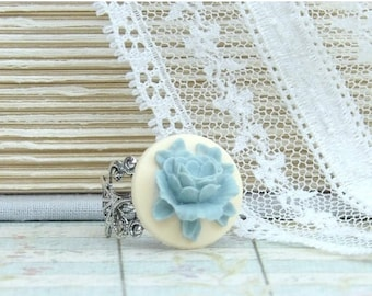 Cameo Ring Victorian Ring Blue Rose Ring Adjustable Ring Blue Flower Ring Victorian Jewelry Floral Ring