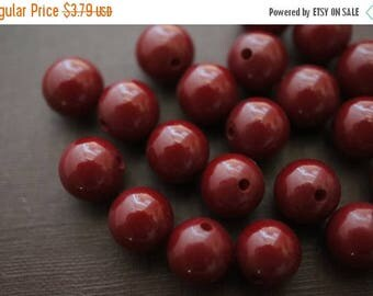 SUMMER SALE Burgundy Red Solid Amber Round Made with Natural Resins Beads - 8mm- 15 pcs