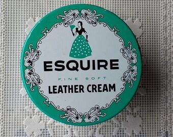 Esquire Leather Cream Jar 1940s Ladies Esquire Fine Soft Leather Cream Jar Collectible vanity jar