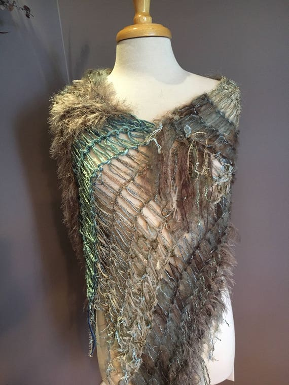 Hand knit Fringed Poncho, kaftan, cover-up, funky knitwear, taupe seafoam blue tapered cover up, Fringed Wide Knit boho wrap, knitwear, funk