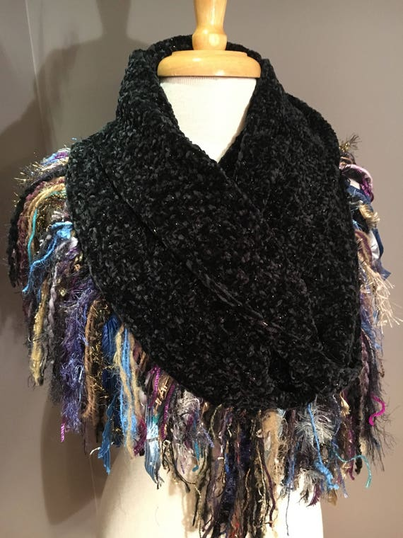 Woven Black wide infinity scarf with jewel tone fringe, 'Showstopper', Ribbon Fringed Knit Round Scarf, Infinity, Poncho, black shrug, dress