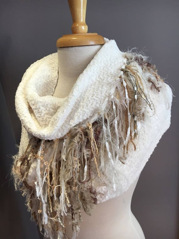 Woven Ivory wide infinity scarf with tan gold tone fringe, 'Showstopper', Ribbon Fringed Knit Round Scarf, Infinity, Poncho, artwear