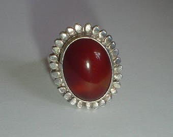 Silver ring carnelian South Western possibly Navajo vintage size 7 UK O purer than sterling