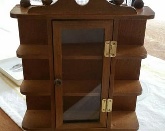 Vintage miniature wood display cabinet - wall hanging cabinet