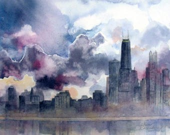 Fine Art Watercolor Print, Misty Fog In Chicago, Tall Skyscrappers,Willis Tower & Sears Tower In The Clouds by Janet Dosenberry
