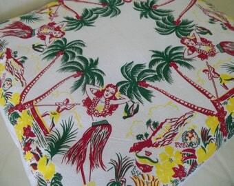 Retro Hawaiian Pillow Cover ~ 20 x 20 Pillow Cover ~ Tiki Decor ~ Beach Decor ~ Vintage Hawaii  Hula Girl ~ Cushion Cover