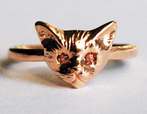 Rose Gold Kitty Cat Ring with Red Cognac Diamond Eyes