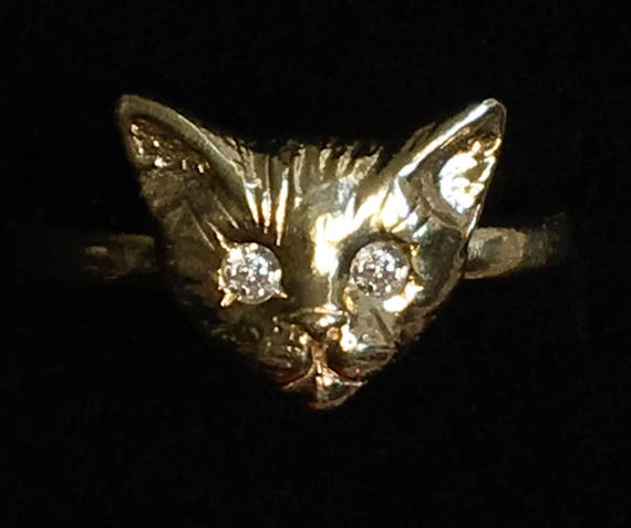 Yellow Gold Kitty Cat Ring with White or Red Diamond Eyes