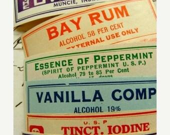 ONSALE Dozen Rare and Colorful Antique Medical Druggist Dozen Pharmacy Gummed Labels