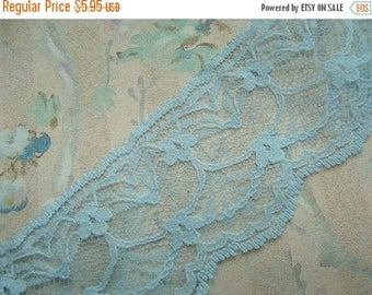 ONSALE 2 Yards of Beautiful Powder Baby Sky Blue Vintage Netted Lace