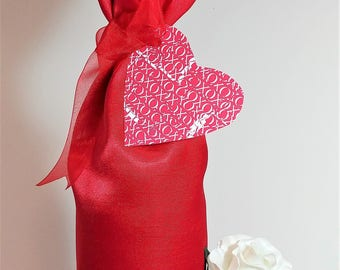 Valentine Wine Bag/Red Silky Wine Bag with Tag