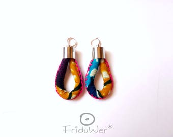 Pendants earrings in African wax Blue and Yellow-ThousandKnots Afro Blu Yellow-clips earrings,afro tribal earrings jewel,gift for her