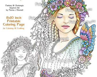Dreaming Fairy Tangles Printable Coloring Book Pages and Printable coloring sheets by Norma Burnell Fairies for Digital & Adult Coloring