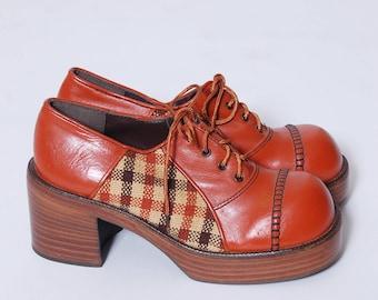 Vintage 70s PLATFORM Shoes Vintage OXFORD Shoes Leather & Tweed Shoes Vintage DEADSTOCK Eldita's  Shoes