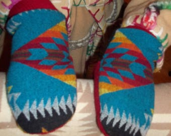Treasure of Turquoise Mittens- Felted Wool /Sweater Wool  Mittens w/ Polar Fleece Lining -Women's XS to XXL (or Men's Sizes)- Made to order.