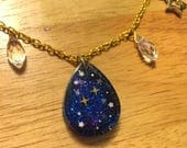 Second Star to the Right, resin necklace, Neverland, Peter Pan inspired, glow in the dark stars, gold chain, Disney bounding, space,