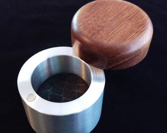 Jatoba Wood and Machined Aluminum Cylinder Engagement Ring Box with Magnetic Lid