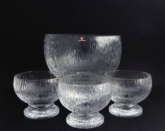 4 Pcs Iittala Kekkerit Serving Punch Bowl Coupe Dessert Footed Glasses Crystal Finland with Tag Label Timo Sarpaneva Vintage Serving Ware