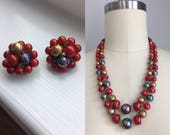 Vintage 1950s Ted Gold and Spatter Bead Double Strand Choker Necklace and Clip On Earrings Set