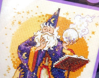 """1995 Vintage Counted Cross Stitch Kit, The SORCERER, Wizard Halloween Stitchery, 5"""" x 7"""" Dimensions Craft Kit, Purple Red White, 14 ct Aida"""