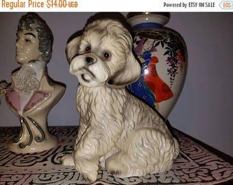 Christmas in July Sale Darling vintage mid century ceramic glazed poodle dog figurine
