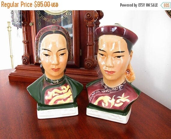 Christmas in July Sale Vintage Goldcrest / Goldscheider / ceramic / porcelain / China / Asian / Chinese / bust / head / figurines / man and