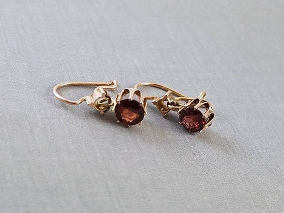 Antique Victorian 14k rose gold diamond solitaire dangle pierced earrings